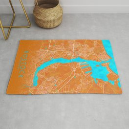 Rostock, Germany, Gold, Blue, City, Map Rug