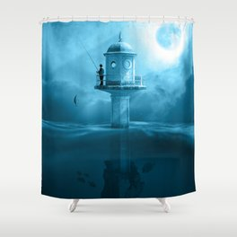 Surreal Fishing Lake Night Mystical Fisher Shower Curtain