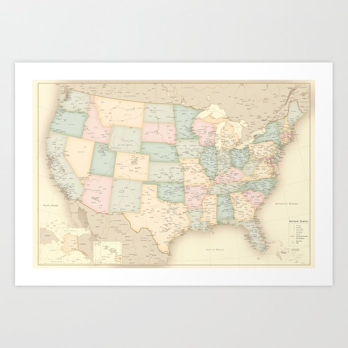 """Vintage map of the USA, high detail, """"librarian"""" Art Print"""