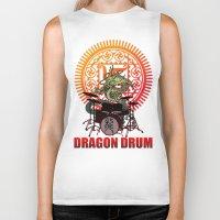 drum Biker Tanks featuring Dragon drum by kuuma
