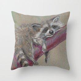 Racoon sleeping Throw Pillow