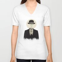 magritte V-neck T-shirts featuring Magritte | The Loading of Man by Gabriel Mihai | SnakeBishop