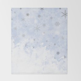 Silver snowflakes on blue Throw Blanket