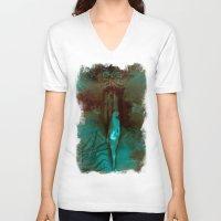 """surrealism V-neck T-shirts featuring """"The Gate"""" Dark Surrealism by judgehydrogen"""