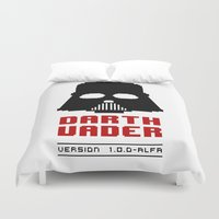 8 bit Duvet Covers featuring 8-bit Darth Vader by Sylwia Borkowska