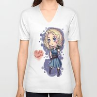 river song V-neck T-shirts featuring Chibi River Song   by Midnight Tardis
