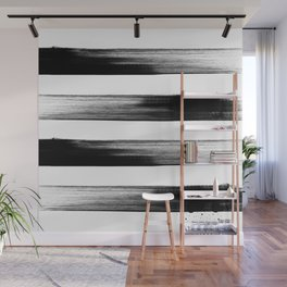 Japanese calligraphy stroke stripe -Zen style, black and white Wall Mural