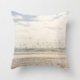 Seagulls feeding frenzy Throw Pillow