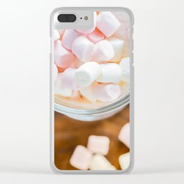 Top view to the  marshmallows in hot chocolate Clear iPhone Case