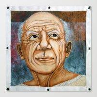 pablo picasso Canvas Prints featuring Pablo Picasso by Michael Cu Fua