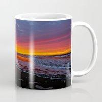 calendars Mugs featuring Surf City Marathon Sunrise  2/2/14   ~   Huntington Beach, California by John Minar Fine Art Photography