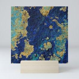 Indigo Teal and Gold Ocean Mini Art Print