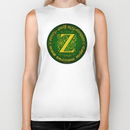Joshua 24:15 - (Gold on Green) Monogram Z Biker Tank