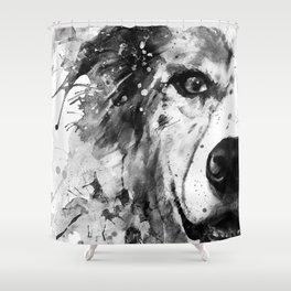 Australian Shepherd Dog Half Face Portrait Shower Curtain