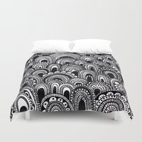 alisa burke Duvet Covers featuring black and white scallops by Alisa Burke