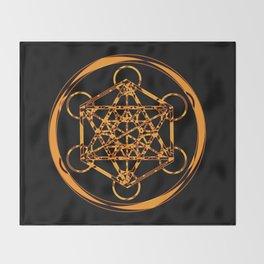 Metatron Cube Gold Throw Blanket