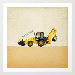 Construction Backhoe Art Print