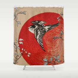 Japan Bird Shower Curtain
