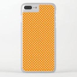 Tiny Paw Prints Pattern - Bright Orange & White Clear iPhone Case
