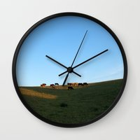 cows Wall Clocks featuring Cows by Bex Finch