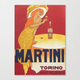 Wine Vintage Poster - Martini Torino by Marcello Dudovich - Italian Advertising Poster Canvas Print