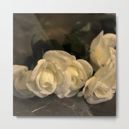 White Sepia Flowers Metal Print