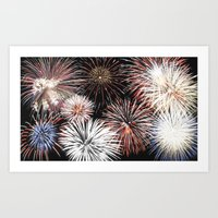 fireworks Art Prints featuring Fireworks by Urlaub Photography