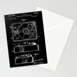 Turntable Patent - White on Black Stationery Cards