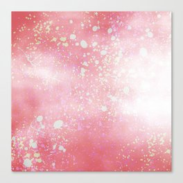 Modern abstract pink teal white watercolor splatters Canvas Print