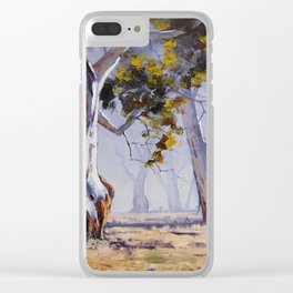 Misty Gum trees Clear iPhone Case