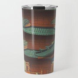 Asano Takeji-Rain In Kiyomizu Temple Vintage Japanese Woodblock Print Travel Mug