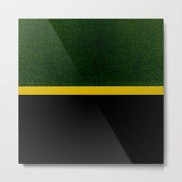 Green, Gold And Black Color Block Metal Print