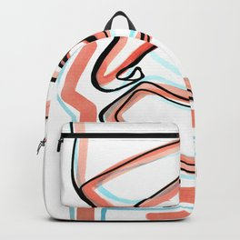 Abstract Open Eye Line Drawing with Red and Blue Backpack