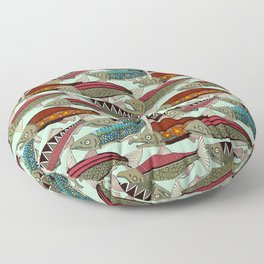 Alaskan salmon mint Floor Pillow