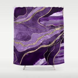 Purple Marble Agate Gold Glitter Glam #1 (Faux Glitter) #decor #art #society6 Shower Curtain