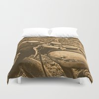 motorcycle Duvet Covers featuring Jawa motorcycle by AhaC