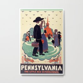 Vintage Travel Poster - Pennsylvania, The Little Red Schoolhouse- AMish Metal Print