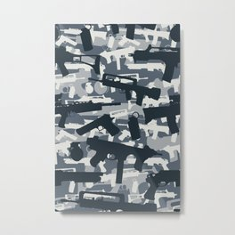 Military Camouflage Neck Gator Gray Camo Weapons Metal Print