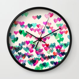 Heart Connections II - watercolor painting (color variation) Wall Clock