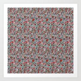 Mushroom Pattern turquoise Art Print