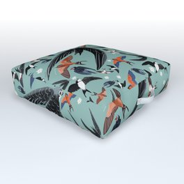 Swallows Martins and Swift pattern Turquoise Outdoor Floor Cushion