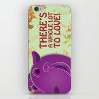 hippo iPhone & iPod Skins featuring Hippo by Jada McGill