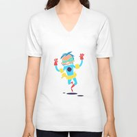 super hero V-neck T-shirts featuring Super Hero 5 by La Lanterne