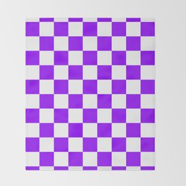Checkered - White and Violet Throw Blanket