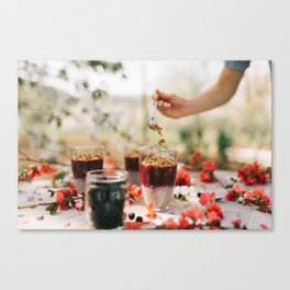 chia seeds pudding with aronia berry Canvas Print