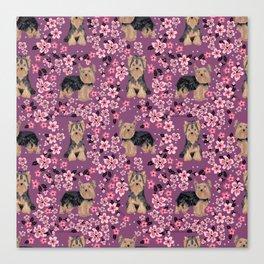 Yorkie cherry blossoms yorkshire terrier cute dog pattern pet friendly dog art Canvas Print