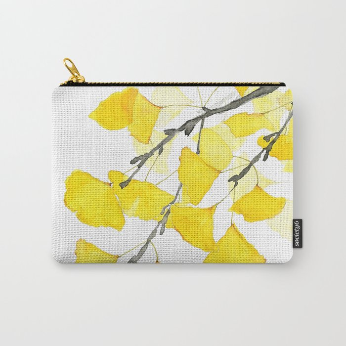 Golden Ginkgo Leaves Carry-All Pouch