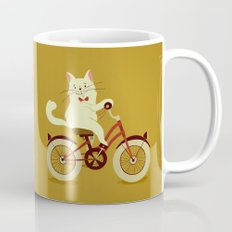 White cat on a bicycle Mug