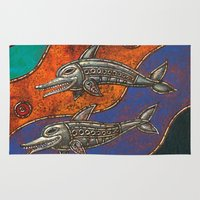 dolphins Area & Throw Rugs featuring Dolphins by Sherdeb Akadan