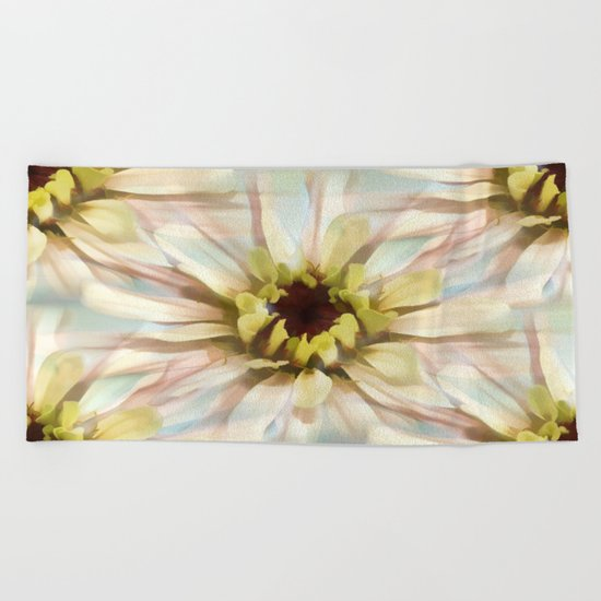 Painterly Seamless Pink Zinnia Beach Towel